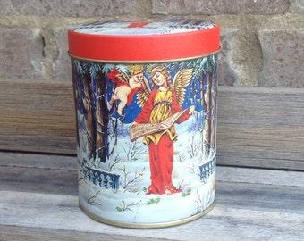 Vintage YF Angel Cherubim Music Scroll Winter Metal Tin Can