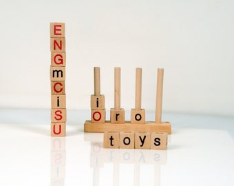 Alphabet Blocks - Wooden Alphabet Blocks - Wooden Toy Stacker -  Educational Toy - English Alphabet