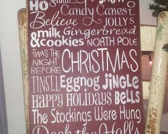 Primitive Christmas Subway Art Typography Sign