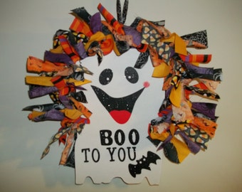Boo To You!  Friendly Halloween Door Hanger