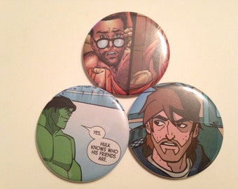 Hulk/Bruce Banner Comic Book Button 3 pack