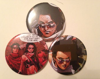 Hawkeye/Kate Bishop Comic Book Button 3 pack