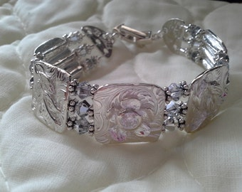 Precious Metal clay PMC3 Fine Silver Bracelet with Marcasite clasp