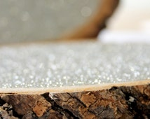 """6"""" Silver Glitter Tree Stump Slice for Vintage and Rustic Celebrations"""