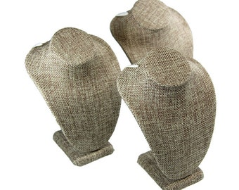 """Burlap Necklace Bust 4-1/4"""" wide x 6"""" high (Pack of 3)  (DCH3896)"""