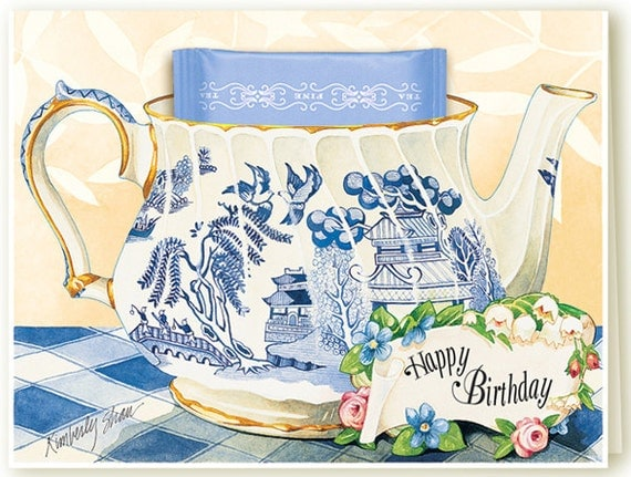 Blue Willow Birthday Teacup Greeting Card by ...