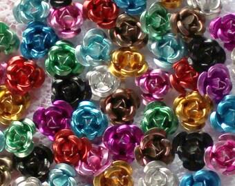 100 Pcs 6mm Assorted Aluminum Rose Cabochons
