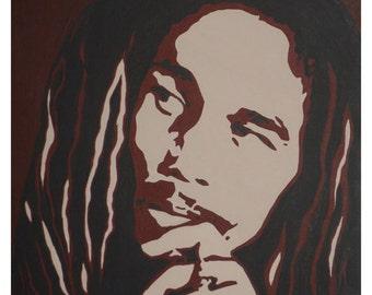 BOB art print of original acrylic painting of Bob Marley browns reggae Jamaica rasta art 8x10