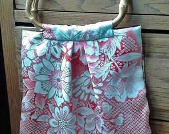 Vintage Kimono silk and bamboo handbag