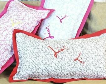 Liar Liar embroidered pillow by Gigi Pop