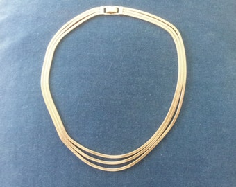 Vintage Sterling Triple Strand Snake Chain Necklace Choker