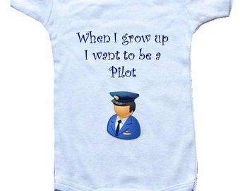 Baby One-Piece Body Suit -Personalized Gifts-When I Grow Up I Want To Be a Pilot - White, Blue or Pink