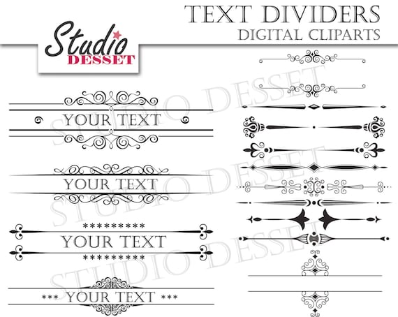 Text For Wedding Invitations: Text Dividers Wedding Invitations Calligraphy Clipart Set