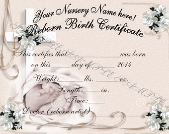 Birth certificate etsy reborn birth certificates your custom nursery name 5 certificates yadclub