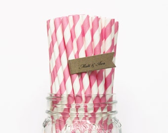 Bubblegum Pink Paper Straws, 25 Pink Striped Paper Straws, Wedding Table Setting, Baby Shower, Kids Birthday Party, Cake Pops Made in USA,