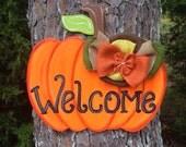 Fall Pumpkin door hanger,fall door decor,personalized door hanger,custom door hanger,wooden door hanger,Halloween door decor,Welcome sign