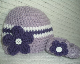 Baby girl purple gift set, any baby size, hat and bootie set, crochet beanie and shoe set, baby gift set, hat and bootie set