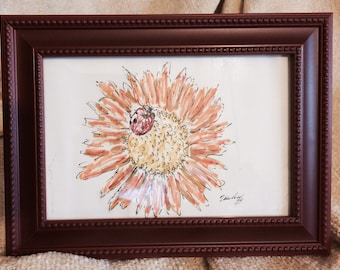 "Ladybug and Sunflower Pen and Ink Drawing, 4""x6"", in Burgundy Plastic Frame"