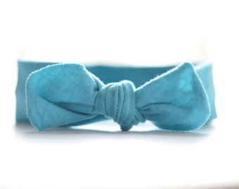 Teal Organic Jersey Knotted Headband