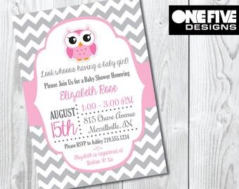 Owl Baby Shower Invitation - Boy or Girl - Printable (5x7)