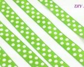 5/8 satin lime green white polka dot fold over elastic, Wholesale foe elastic for headbands hair ties, printed elastic by the yard