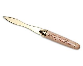 Laser Engraved Maple letter opener