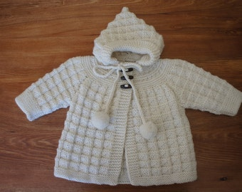 Cream Wool Baby Jacket (Hand Knitted)