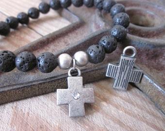 black Lava stone bracelet volcanic rock pewter cross charm Lavish Lucy Designs mens stretch bracelet boho bracelet beaded stretch bracelet