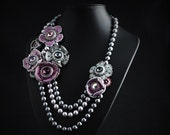 Jewellery - Wedding jewelry - Bride - Bridal jewelry - Beaded necklace –necklaces -  flower necklace -  gift for woman