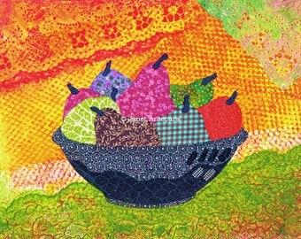 Festive Fruit Fine Art Print, Fruit Bowl, Collage Art, Kitchen Decor, Dining Room Decor, Modern Art