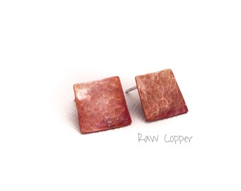 Raw Copper and sterling silver post earrings