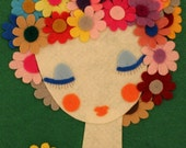 Handmade Felt Portrait Woman Felt Artwork Wall Hanging Felt Flowers Comfort Expression Art - Gaoui