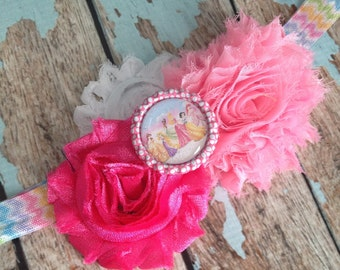 Disney Princess shabby flower chevron elastic headband