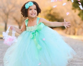 Mint Flower Girl Dress,  Aqua and Mint Flower Girl Dress, Aqua Flower Girl Dress, Aqua Tutu Dress, Tutu Dress, Girls Dress, Baby Dress