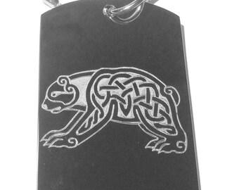 Celtic Bear Tattoo Logo Symbol - Military Dog Tag Luggage Tag Key Chain Metal Necklace CELTIC BEAR