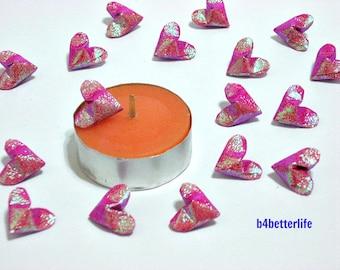 100pcs Maroon Color Mini Size 3D Origami Hearts LOVE. (TX paper series). #FOH-135.