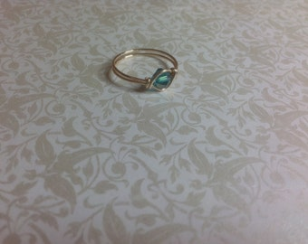 Sea blue crystal wire wrapped ring