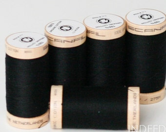 Black Onyx, Scanfil Organic Cotton Thread, 300 Yards, Color #4808