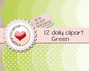 """12 Green doily labels.12PNG(clipart) with transparent background.+12pdf sheetsJPG.High quality, 6""""x6"""" (576x576pixels) 300 PPP."""