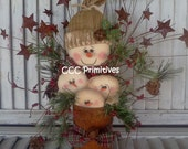 Primitive Christmas Tin Can Snow Family Paper Pattern - CCCPrimitives
