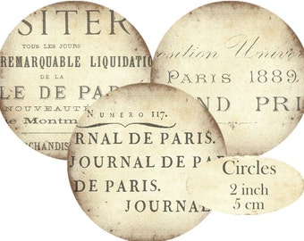 French Ledger Paris Books Circles 2 inch Instant Download digital collage sheet C240 Text Typographie