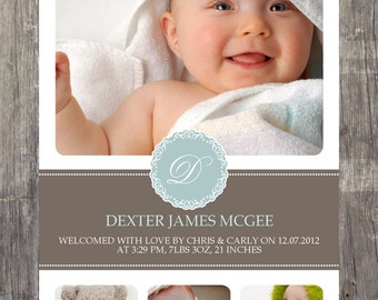 Photo baby announcement, boy, digital file, we customise, you print yourself!