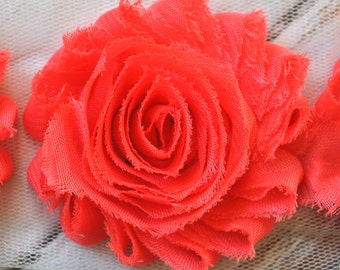 "2.5"" Coral shabby flower trim - frayed chiffon - rose flowers by the yard - JT Coral"