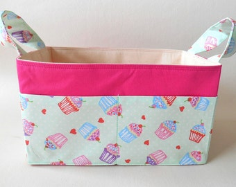 Fabric Basket Cupcakes Mint and Pink with Pockets, Diaper Caddy, Storage Basket, Nursery, Desk Storage, Make-up Organiser, Knitting Basket