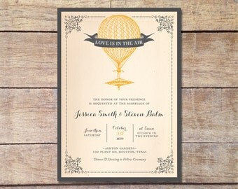 Hot Air Balloon Wedding Invitation - Hot Air Balloon Save the Date - Rustic Wedding - Vintage Wedding - Digital Invitation and Save the Date
