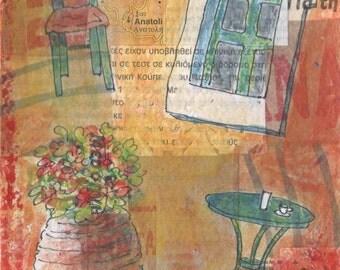 Greek Village Scene - Anatoli - Original Painting - Warm Oranges and Reds