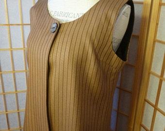 Japanese Kimono Brown Stripe Long Vest