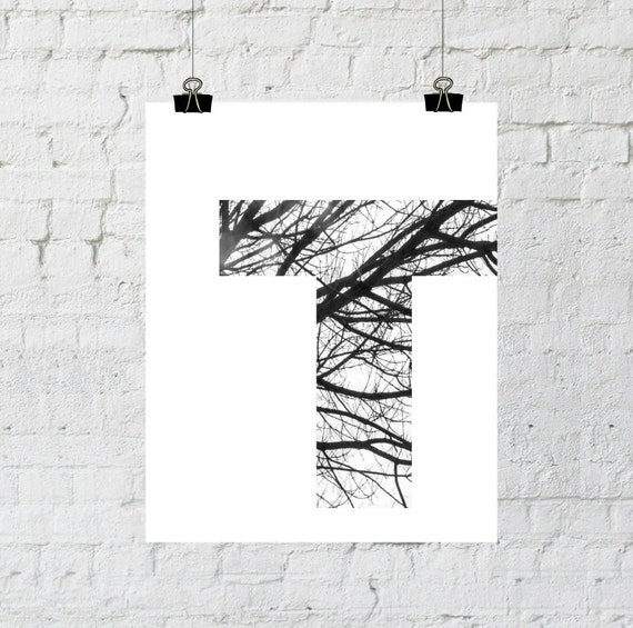 "Black & White Letter ""T"" Tree Branch Art Print. 8x10 Typographic Home Decor. Instant Digital Download Printable Wall Art-ADOPTION FUNDRAISER"