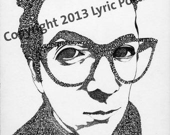 Elvis Costello Hand-drawn 8x10 Portrait out of Lyrics