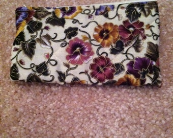Pansy flowers coin purse